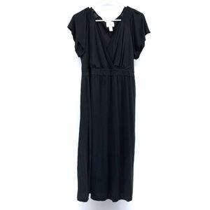 LOFT Maternity Black V Neck Midi Dress